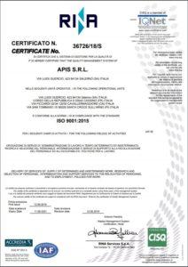 Certificato ISO 9001:2005 Apis srl
